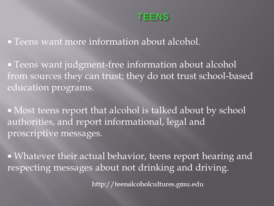  Teens want more information about alcohol.