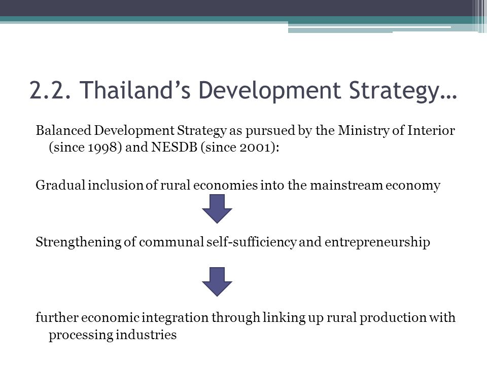 Balanced Development Strategy as pursued by the Ministry of Interior (since 1998) and NESDB (since 2001): Gradual inclusion of rural economies into the mainstream economy Strengthening of communal self-sufficiency and entrepreneurship further economic integration through linking up rural production with processing industries 2.2.