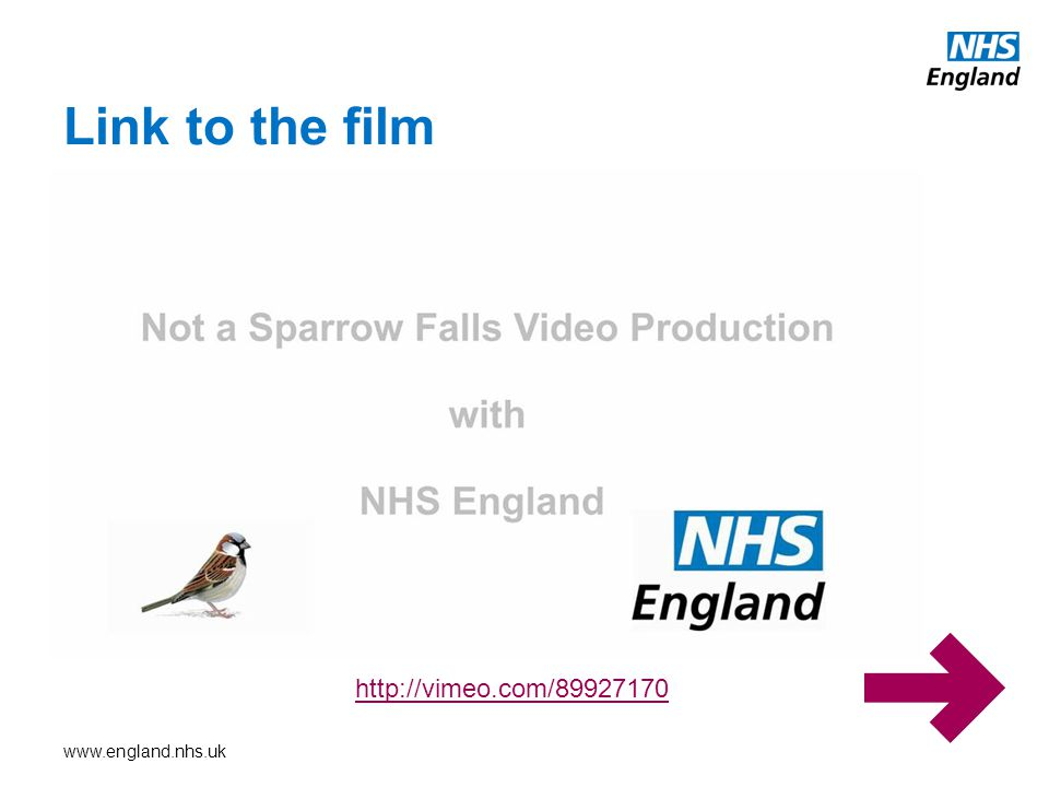 www.england.nhs.uk Link to the film http://vimeo.com/89927170
