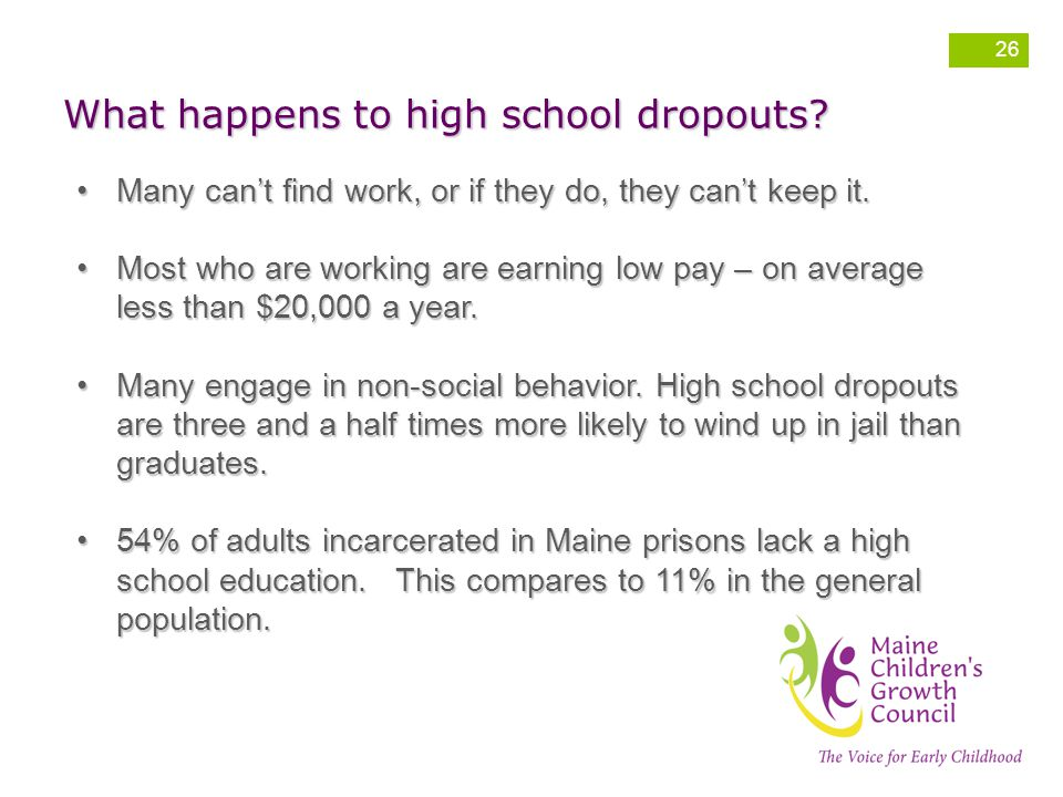 What happens to high school dropouts.ManyMany can't find work, or if they do, they can't keep it.