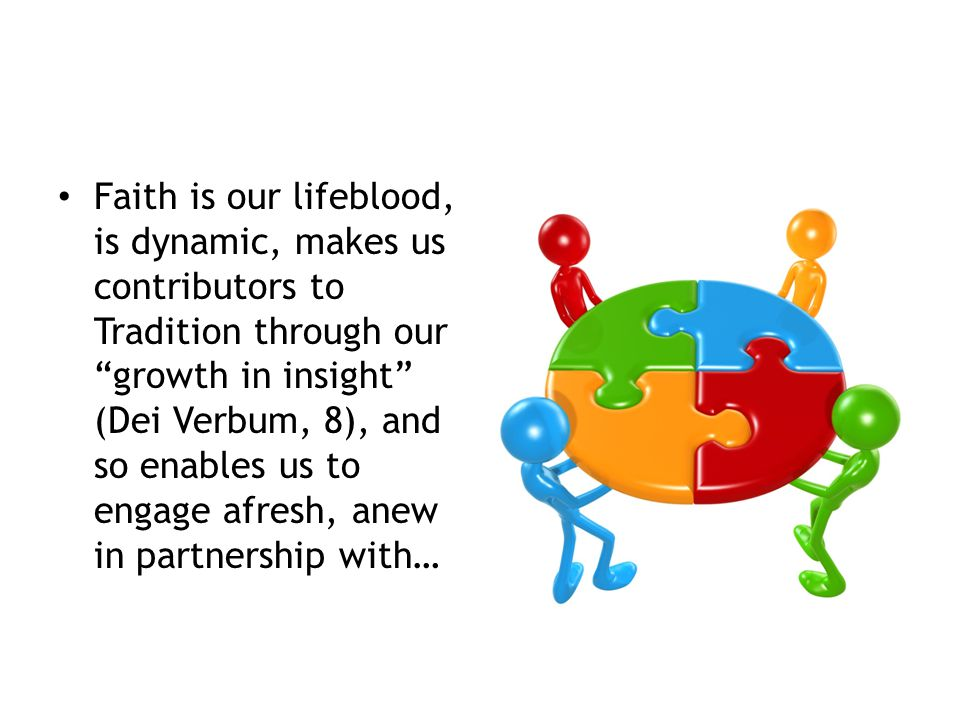 Faith is our lifeblood, is dynamic, makes us contributors to Tradition through our growth in insight (Dei Verbum, 8), and so enables us to engage afresh, anew in partnership with…