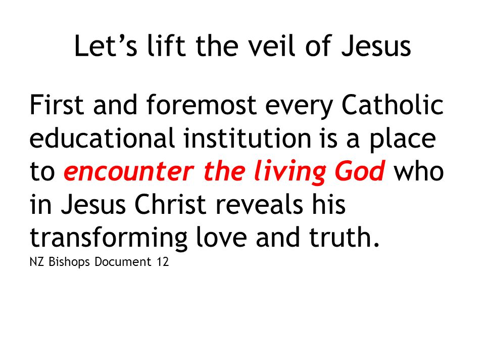 Let's lift the veil of Jesus First and foremost every Catholic educational institution is a place to encounter the living God who in Jesus Christ reveals his transforming love and truth.