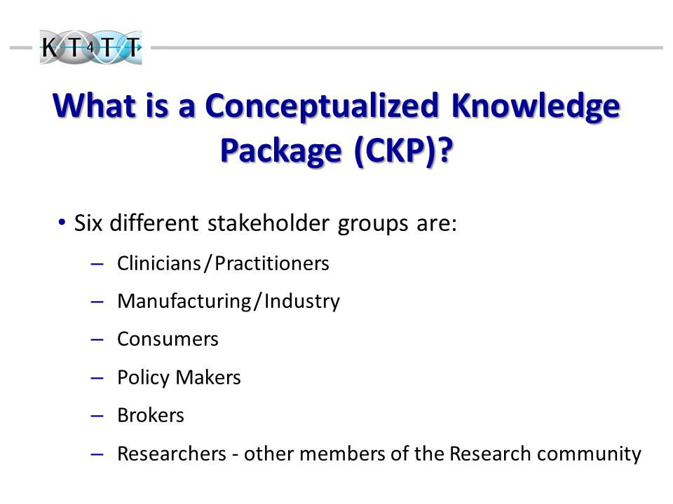 What is a Conceptualized Knowledge Package (CKP).