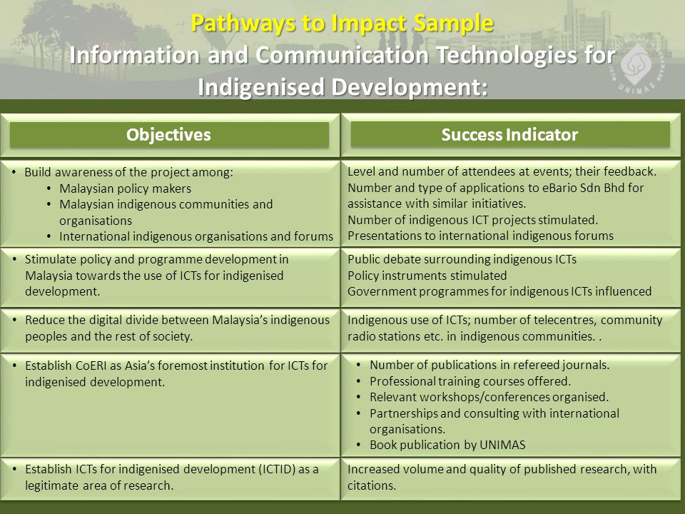 Build awareness of the project among: Malaysian policy makers Malaysian indigenous communities and organisations International indigenous organisations and forums Build awareness of the project among: Malaysian policy makers Malaysian indigenous communities and organisations International indigenous organisations and forums Establish ICTs for indigenised development (ICTID) as a legitimate area of research.