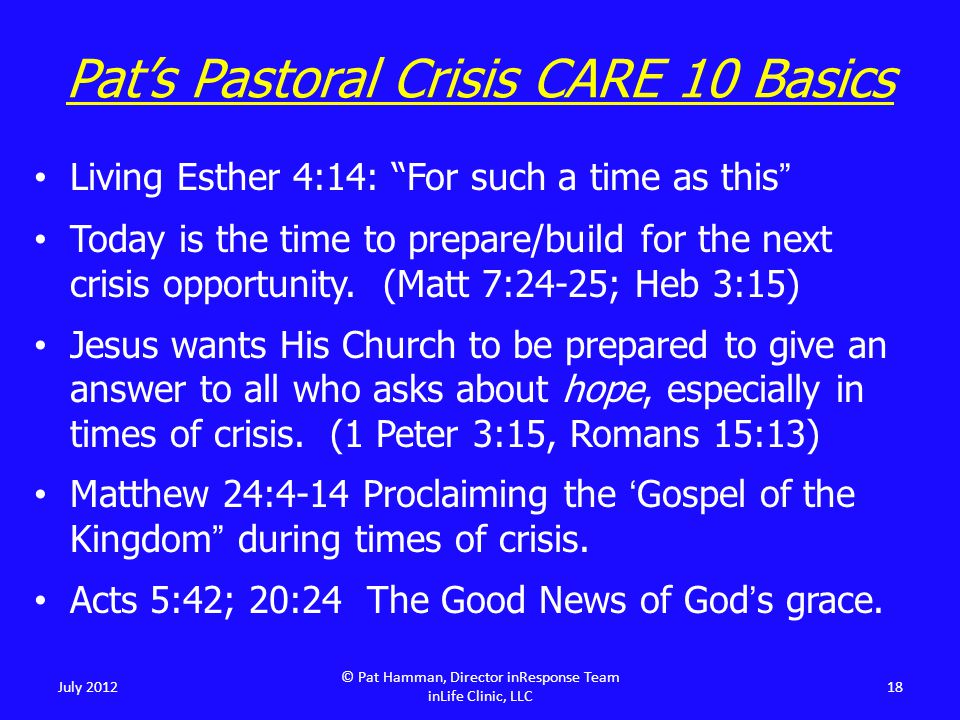 Living Esther 4:14: For such a time as this Today is the time to prepare/build for the next crisis opportunity.