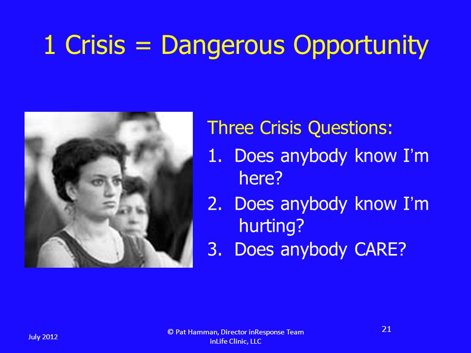 Three Crisis Questions: 1. Does anybody know I'm here.
