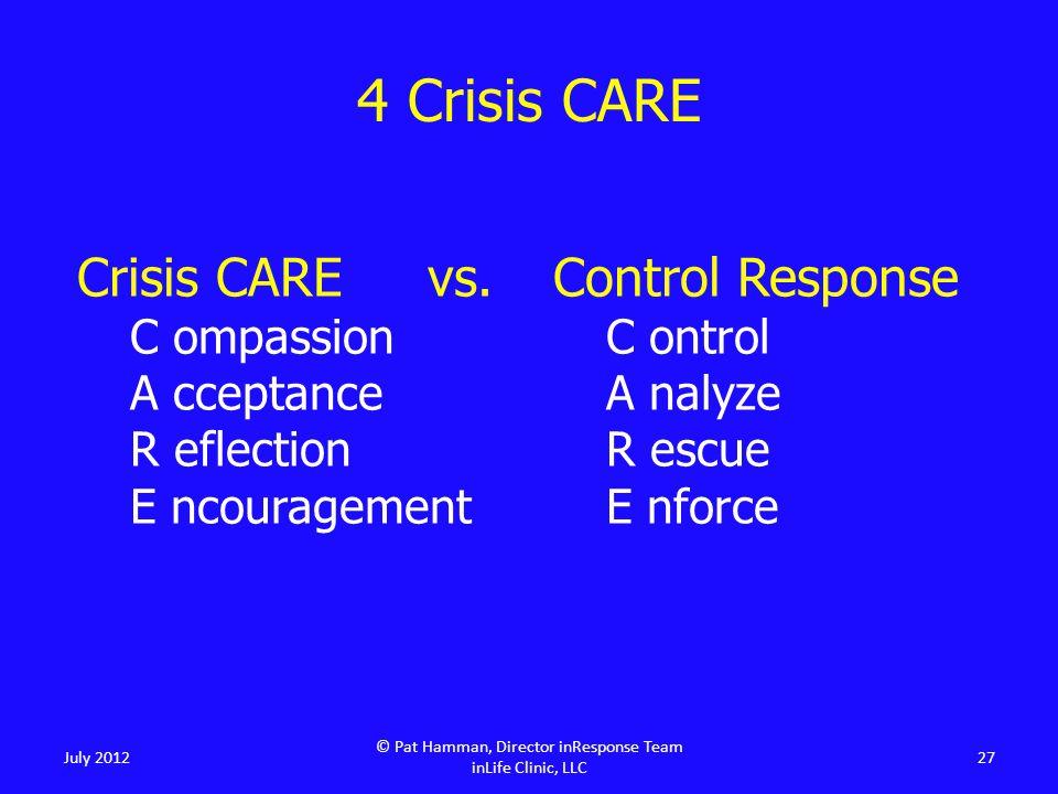 4 Crisis CARE July 2012 © Pat Hamman, Director inResponse Team inLife Clinic, LLC 27 Crisis CARE vs.
