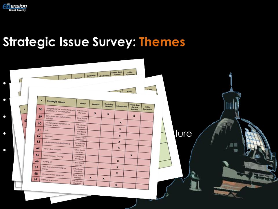 Strategic Issue Survey: Themes Revenue Controlling Expenses Infrastructure Roles & Responsibilities/Service Structure Public Perception