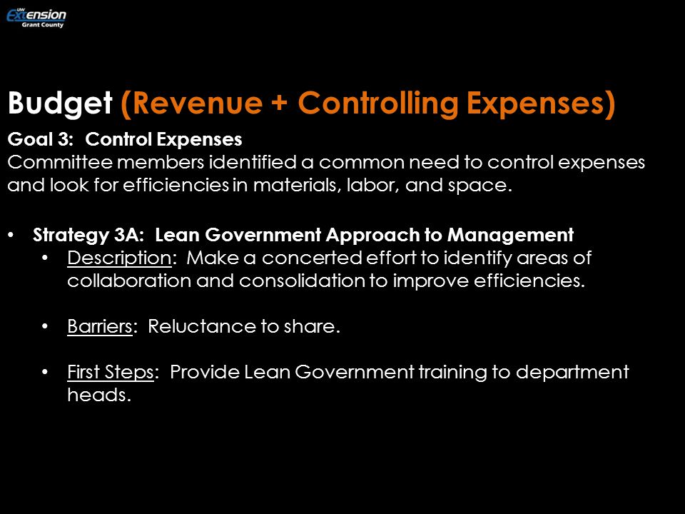 Budget (Revenue + Controlling Expenses) Goal 3: Control Expenses Committee members identified a common need to control expenses and look for efficiencies in materials, labor, and space.