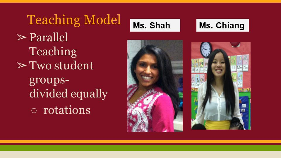 Teaching Model ➢ Parallel Teaching ➢ Two student groups- divided equally ○ rotations Ms.