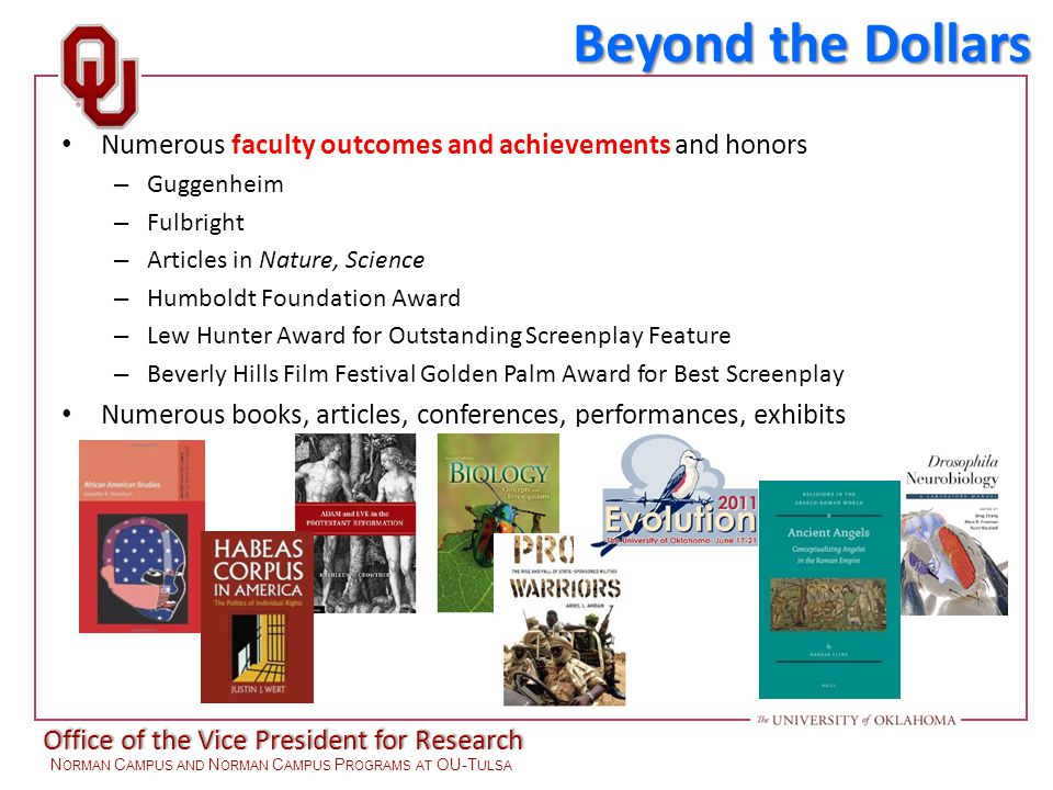 Office of the Vice President for Research N ORMAN C AMPUS AND N ORMAN C AMPUS P ROGRAMS AT OU-T ULSA Numerous faculty outcomes and achievements and honors – Guggenheim – Fulbright – Articles in Nature, Science – Humboldt Foundation Award – Lew Hunter Award for Outstanding Screenplay Feature – Beverly Hills Film Festival Golden Palm Award for Best Screenplay Numerous books, articles, conferences, performances, exhibits Beyond the Dollars