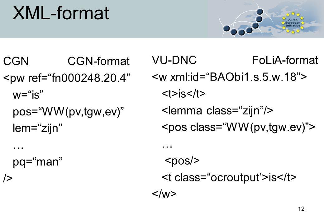 "12 XML-format CGN CGN-format <pw ref=""fn000248.20.4"" w=""is"" pos=""WW(pv,tgw,ev)"" lem=""zijn"" … pq=""man"" /> VU-DNC FoLiA-format is … is"