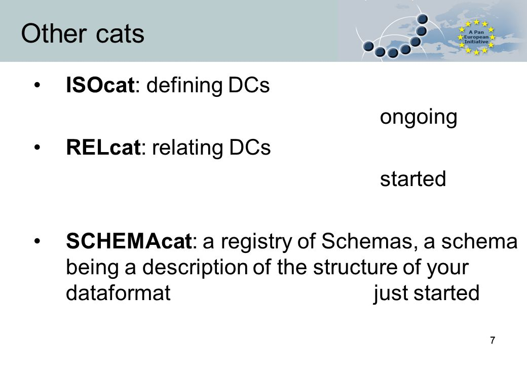 77 Other cats ISOcat: defining DCs ongoing RELcat: relating DCs started SCHEMAcat: a registry of Schemas, a schema being a description of the structure of your dataformatjust started