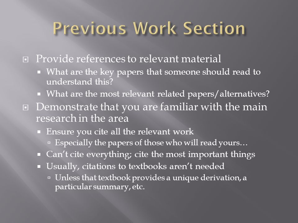  Provide references to relevant material  What are the key papers that someone should read to understand this.