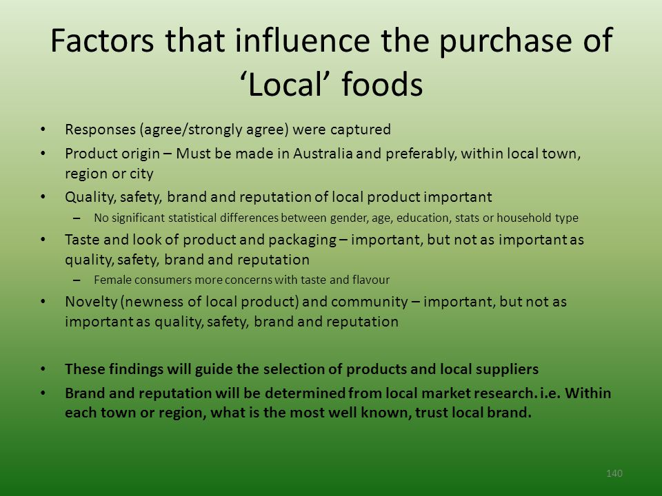 Factors that influence the purchase of 'Local' foods Responses (agree/strongly agree) were captured Product origin – Must be made in Australia and preferably, within local town, region or city Quality, safety, brand and reputation of local product important – No significant statistical differences between gender, age, education, stats or household type Taste and look of product and packaging – important, but not as important as quality, safety, brand and reputation – Female consumers more concerns with taste and flavour Novelty (newness of local product) and community – important, but not as important as quality, safety, brand and reputation These findings will guide the selection of products and local suppliers Brand and reputation will be determined from local market research.