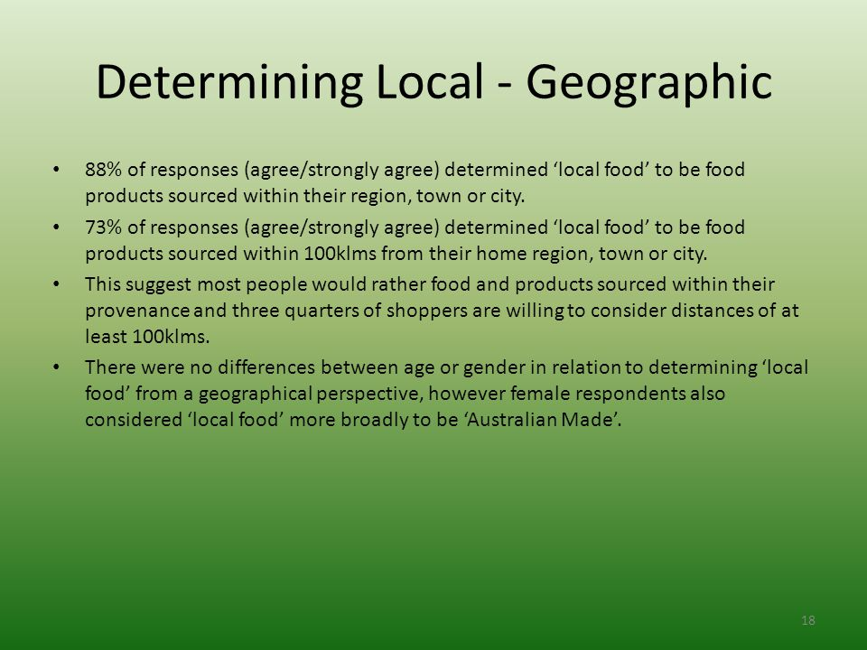 Determining Local - Geographic 88% of responses (agree/strongly agree) determined 'local food' to be food products sourced within their region, town or city.