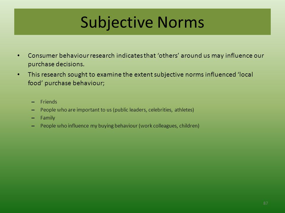 Subjective Norms Consumer behaviour research indicates that 'others' around us may influence our purchase decisions.