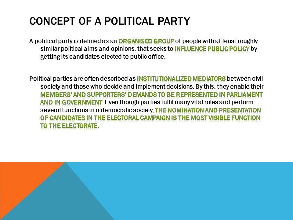 CONCEPT OF A POLITICAL PARTY