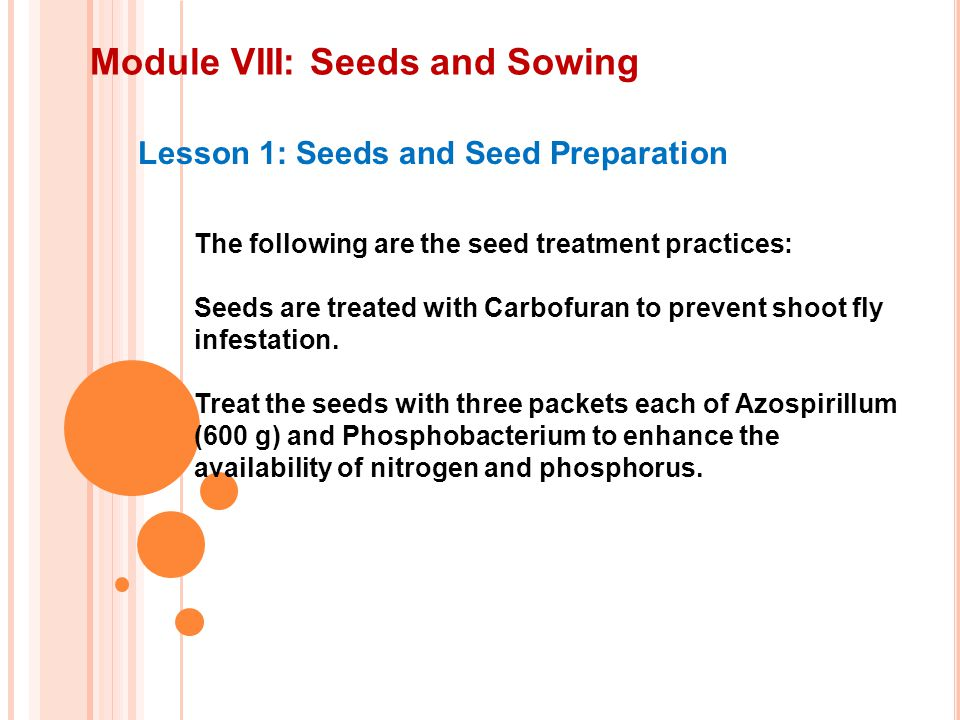 Module VIII: Seeds and Sowing Lesson 1: Seeds and Seed Preparation The following are the seed treatment practices: Seeds are treated with Carbofuran to prevent shoot fly infestation.