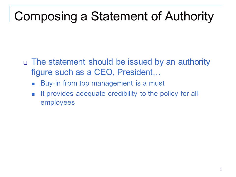 4 Composing a Statement of Authority Cont.