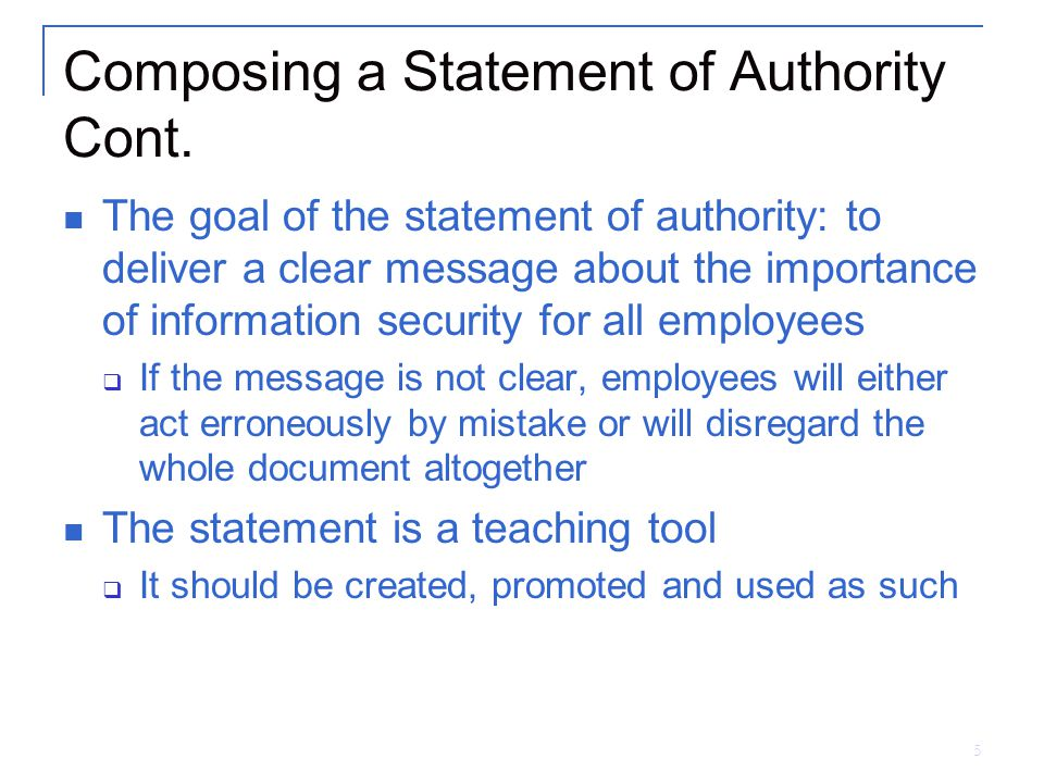 5 Composing a Statement of Authority Cont.
