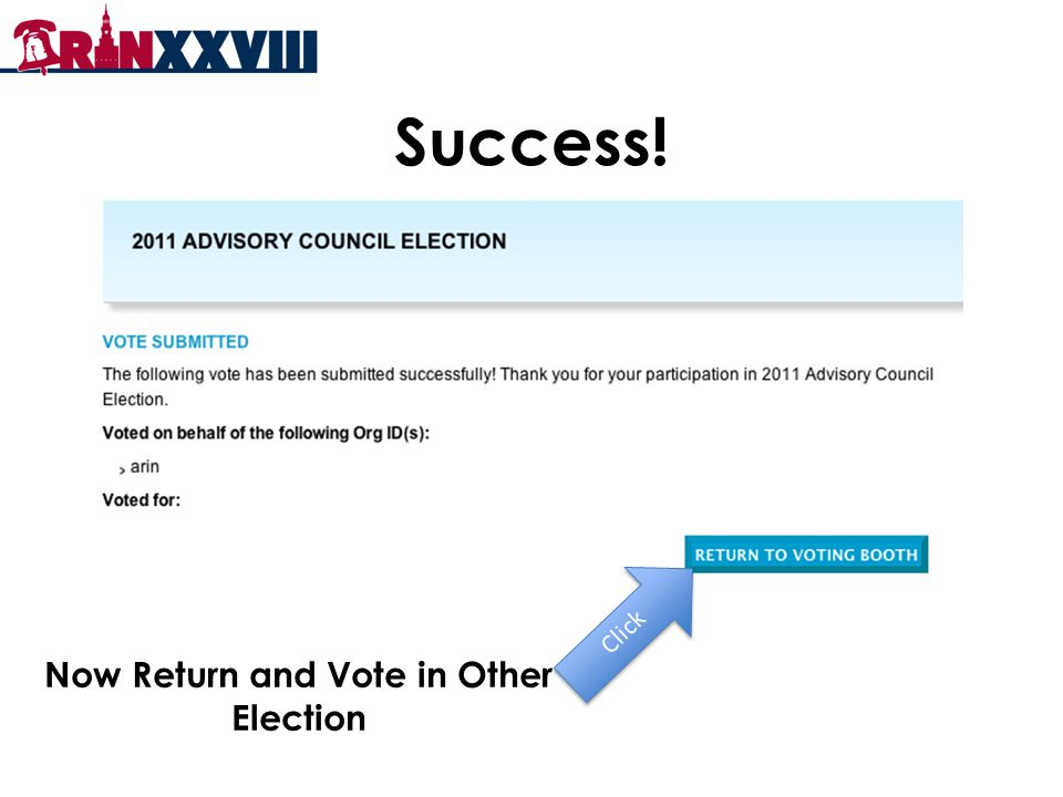 Success! Click Now Return and Vote in Other Election