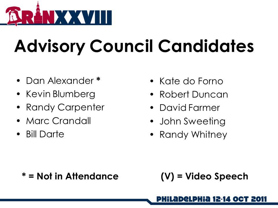 Advisory Council Candidates Dan Alexander * Kevin Blumberg Randy Carpenter Marc Crandall Bill Darte Kate do Forno Robert Duncan David Farmer John Swee