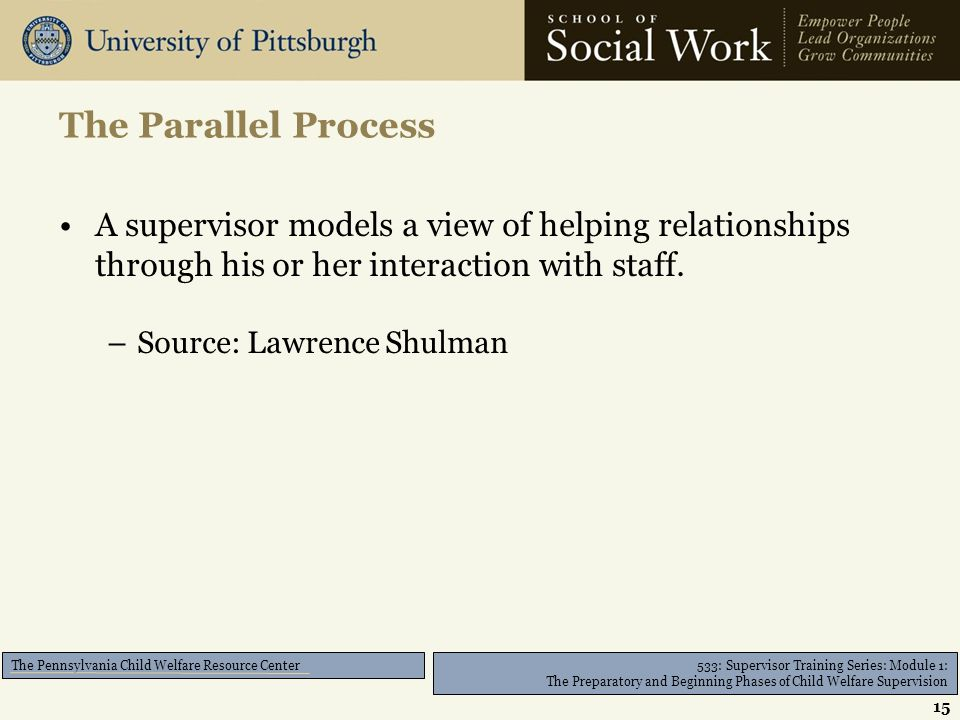533: Supervisor Training Series: Module 1: The Preparatory and Beginning Phases of Child Welfare Supervision The Pennsylvania Child Welfare Resource Center A supervisor models a view of helping relationships through his or her interaction with staff.
