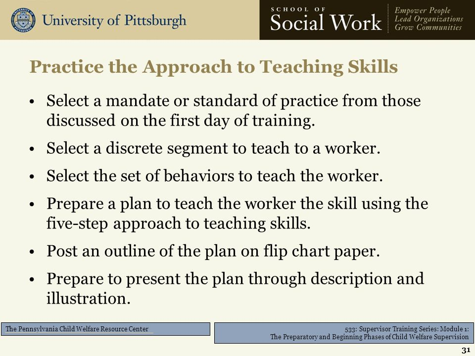 533: Supervisor Training Series: Module 1: The Preparatory and Beginning Phases of Child Welfare Supervision The Pennsylvania Child Welfare Resource Center Select a mandate or standard of practice from those discussed on the first day of training.