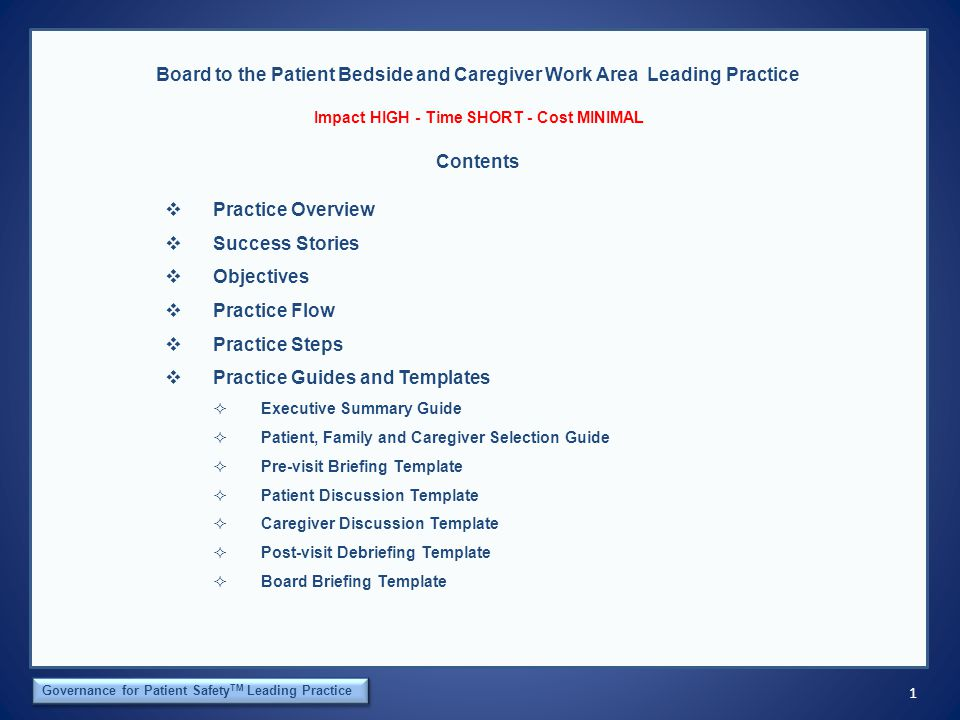 2 The Orca Institute Governance for Patient Safety TM Leading Practice Board to the Patient Bedside and Caregiver Work Area Leading Practice Practice Overview Impact HIGH - Time SHORT - Cost MINIMAL Board members seldom lack the information, data and statistics needed to support their work.