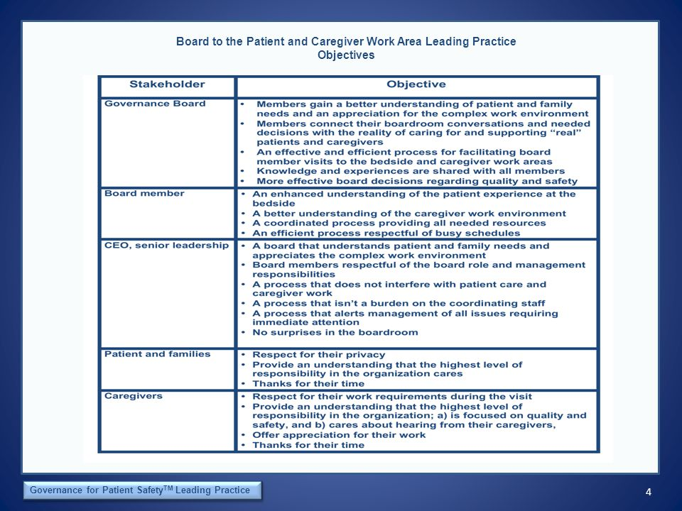 4 The Orca Institute Governance for Patient Safety TM Leading Practice Board to the Patient and Caregiver Work Area Leading Practice Objectives