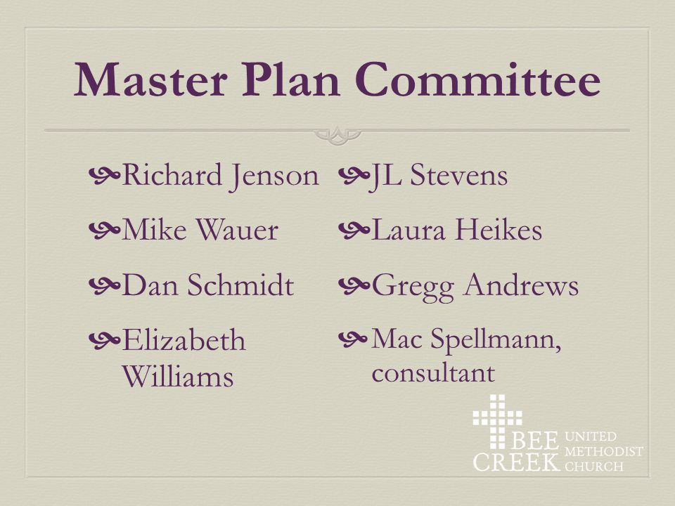 Agenda Opening prayer Master plan Committee Update Questions & Comments Discussion Closing prayer