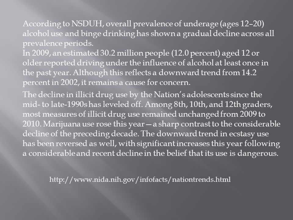 According to NSDUH, overall prevalence of underage (ages 12–20) alcohol use and binge drinking has shown a gradual decline across all prevalence periods.
