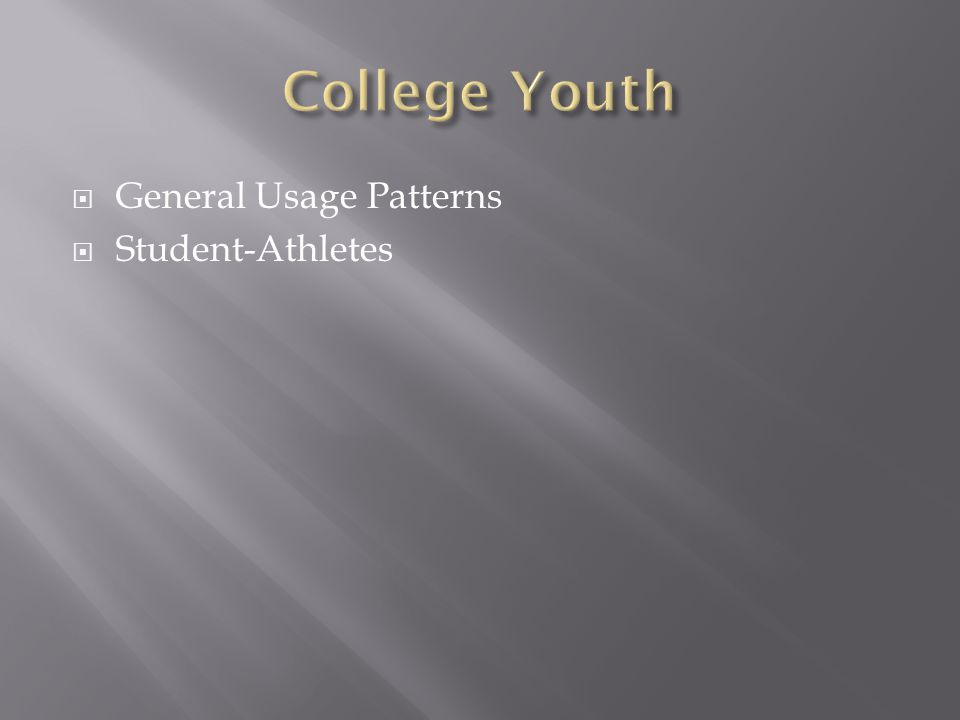  General Usage Patterns  Student-Athletes