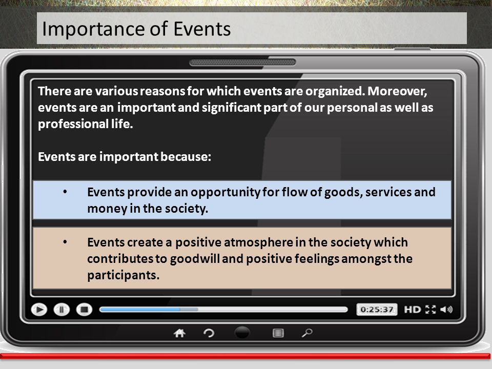 Importance of Events There are various reasons for which events are organized. Moreover, events are an important and significant part of our personal