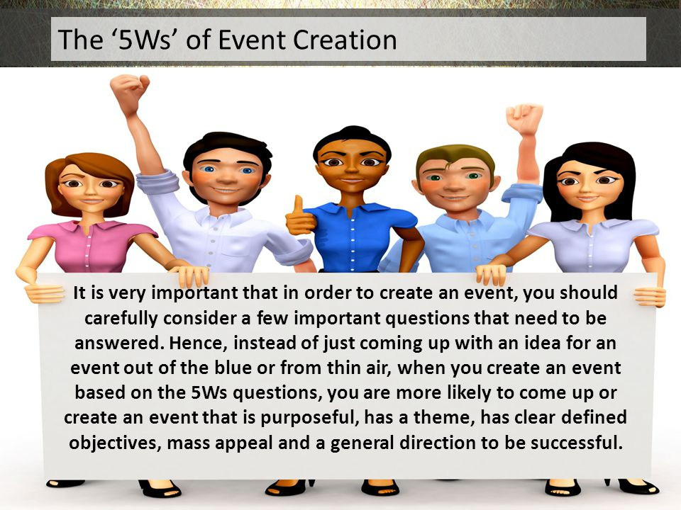 It is very important that in order to create an event, you should carefully consider a few important questions that need to be answered. Hence, instea