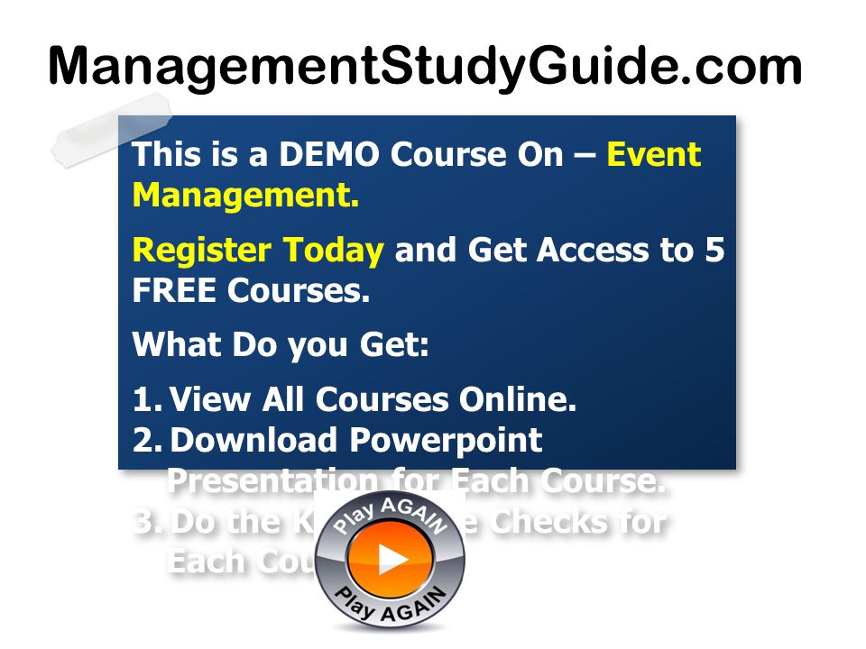 This is a DEMO Course On – Event Management. Register Today and Get Access to 5 FREE Courses. What Do you Get: 1.View All Courses Online. 2.Download P