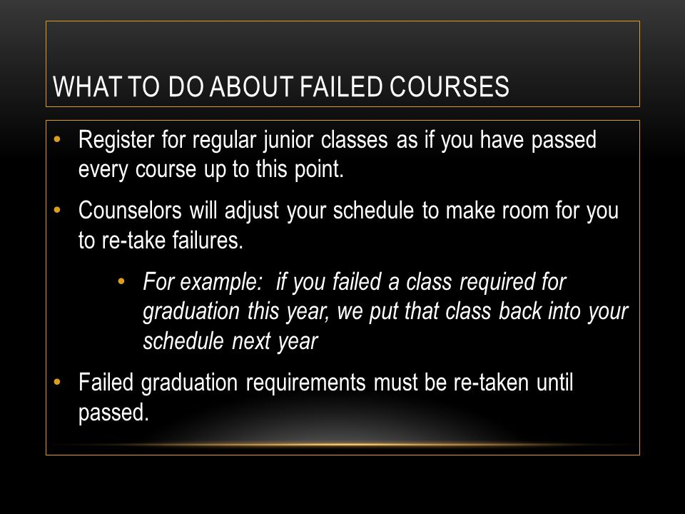 WHAT TO DO ABOUT FAILED COURSES Register for regular junior classes as if you have passed every course up to this point. Counselors will adjust your s