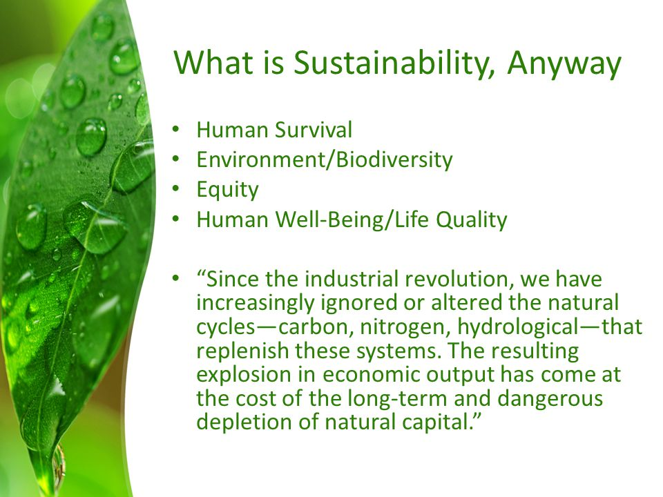 What is Sustainability, Anyway Human Survival Environment/Biodiversity Equity Human Well-Being/Life Quality Since the industrial revolution, we have increasingly ignored or altered the natural cycles—carbon, nitrogen, hydrological—that replenish these systems.