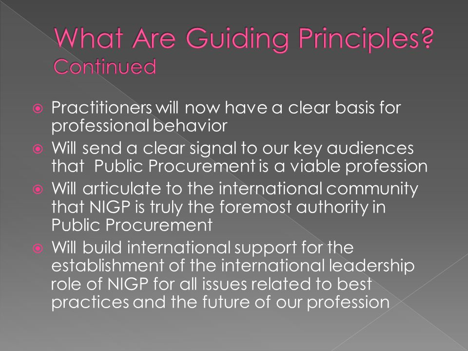 Practitioners will now have a clear basis for professional behavior  Will send a clear signal to our key audiences that Public Procurement is a viable profession  Will articulate to the international community that NIGP is truly the foremost authority in Public Procurement  Will build international support for the establishment of the international leadership role of NIGP for all issues related to best practices and the future of our profession