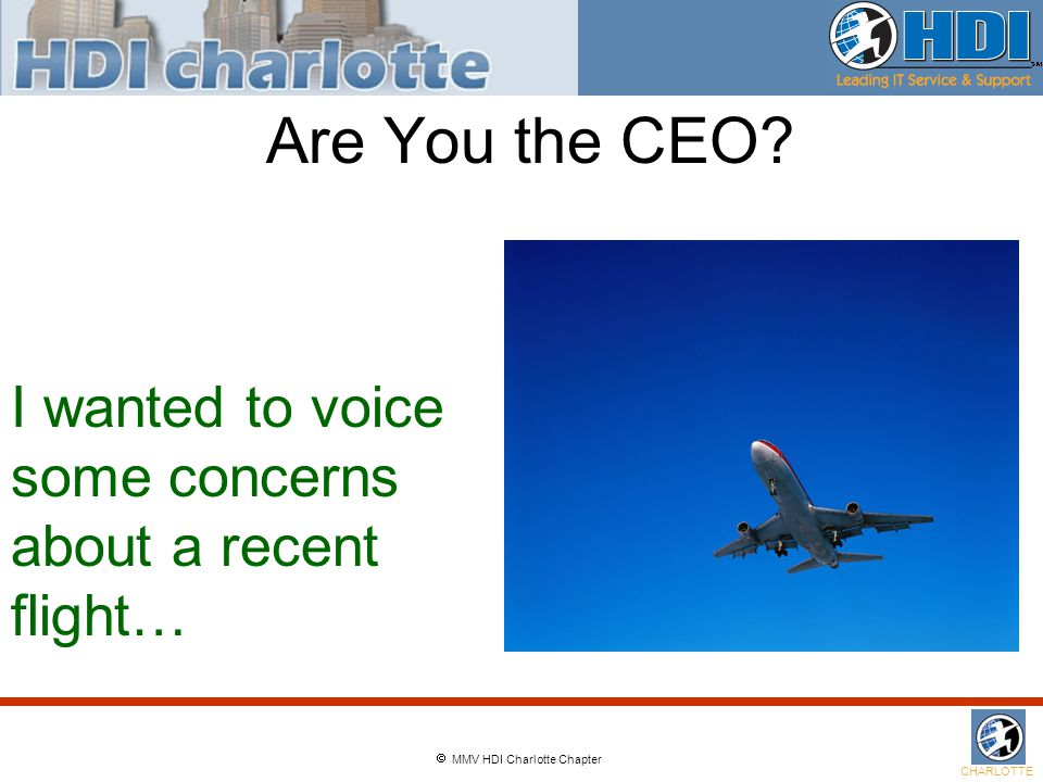  MMV HDI Charlotte Chapter CHARLOTTE Are You the CEO.