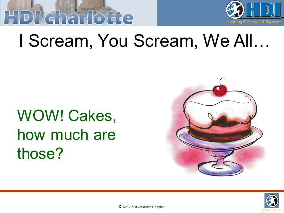  MMV HDI Charlotte Chapter CHARLOTTE I Scream, You Scream, We All… WOW! Cakes, how much are those