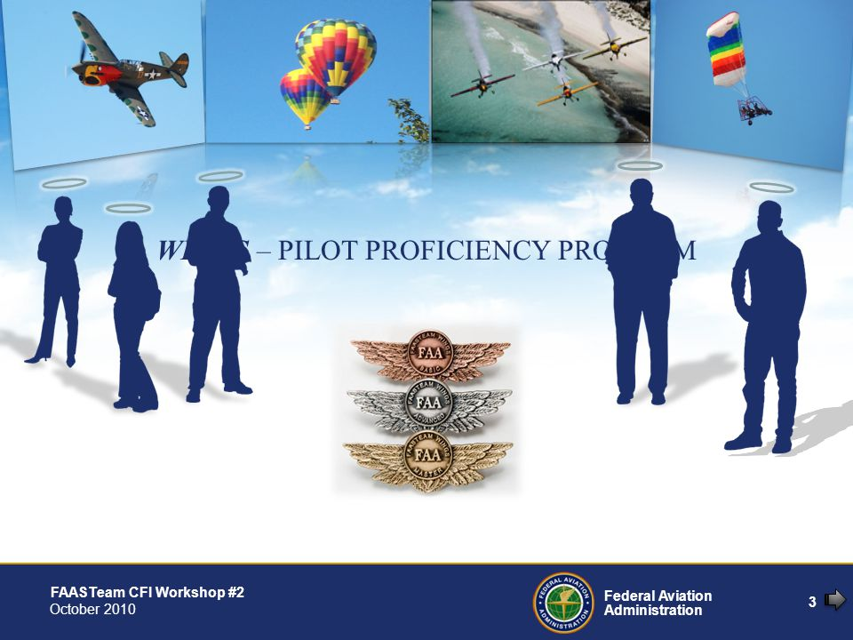 3 Federal Aviation Administration FAASTeam CFI Workshop #2 October 2010 WINGS – PILOT PROFICIENCY PROGRAM