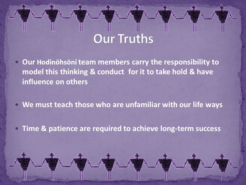 Our Hodinöhsöni team members carry the responsibility to model this thinking & conduct for it to take hold & have influence on others We must teach those who are unfamiliar with our life ways Time & patience are required to achieve long-term success