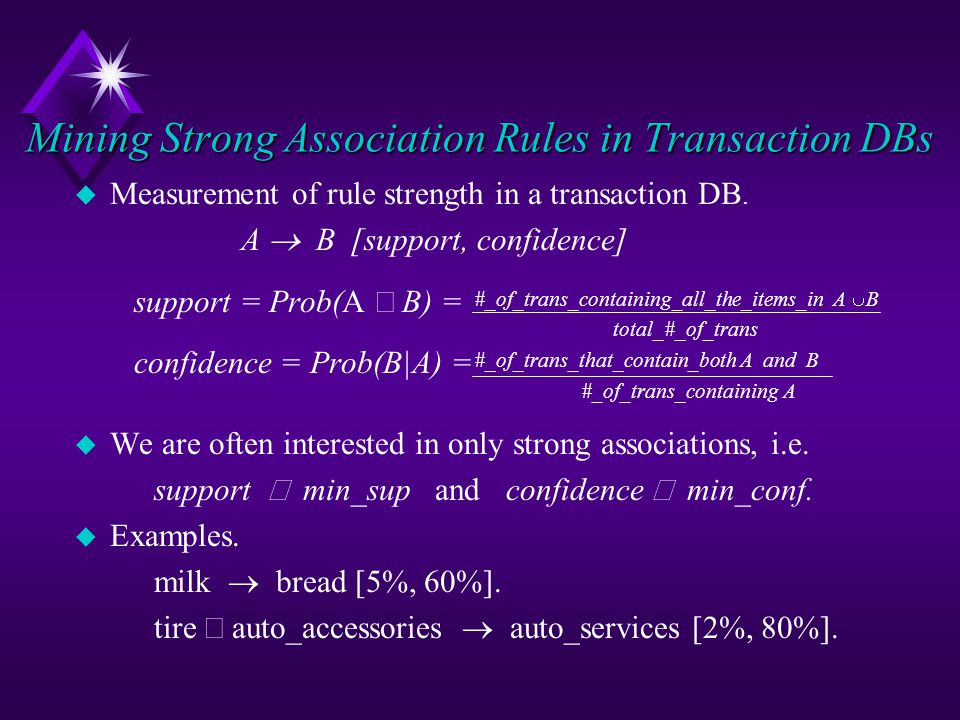 Mining Strong Association Rules in Transaction DBs u Measurement of rule strength in a transaction DB.