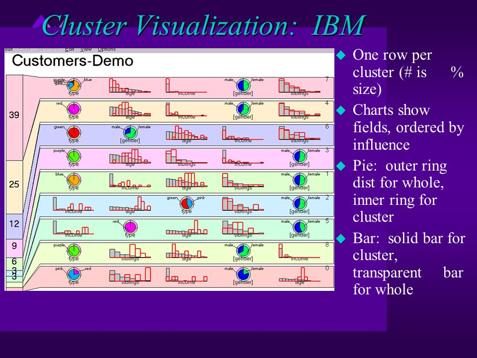 Cluster Visualization: IBM u One row per cluster (# is % size) u Charts show fields, ordered by influence u Pie: outer ring dist for whole, inner ring for cluster u Bar: solid bar for cluster, transparent bar for whole