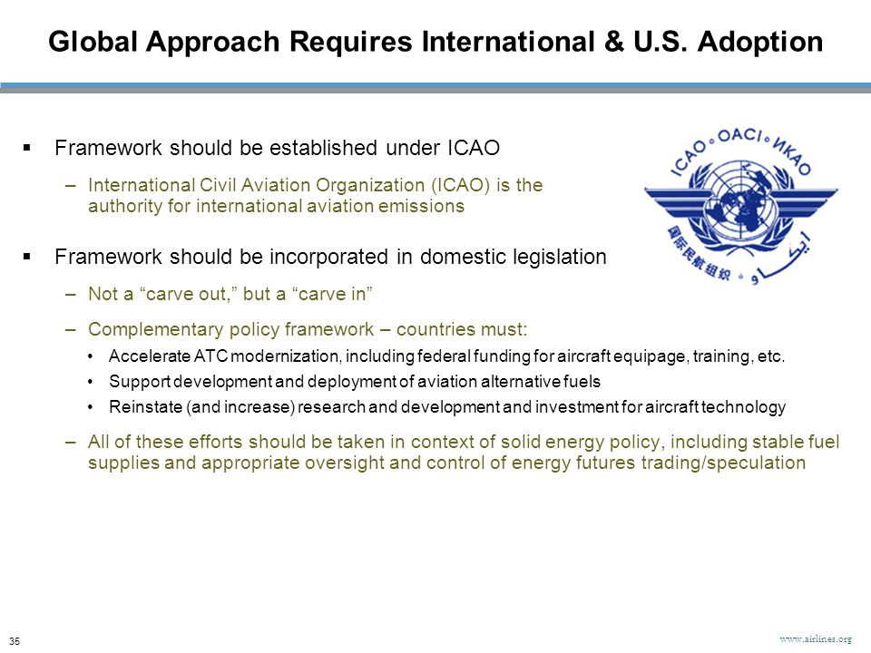 Global Approach Requires International & U.S. Adoption www.airlines.org 35  Framework should be established under ICAO –International Civil Aviation