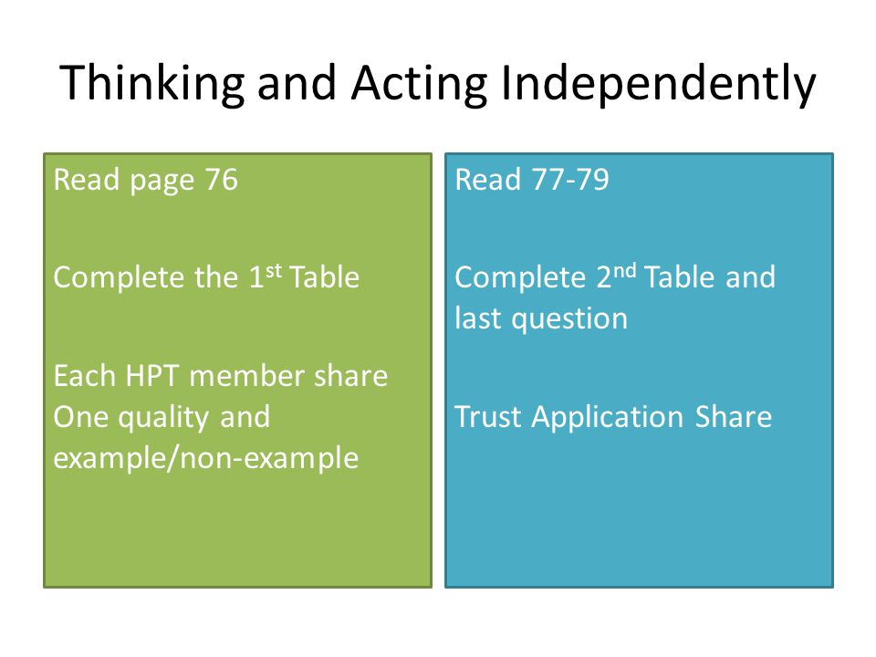 Thinking and Acting Independently Read page 76 Complete the 1 st Table Each HPT member share One quality and example/non-example Read 77-79 Complete 2 nd Table and last question Trust Application Share