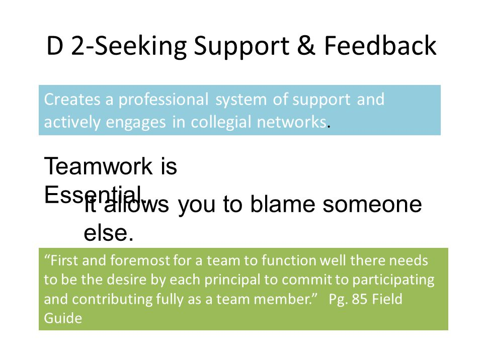 D 2-Seeking Support & Feedback Creates a professional system of support and actively engages in collegial networks.