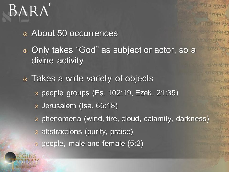  About 50 occurrences  Only takes God as subject or actor, so a divine activity  Takes a wide variety of objects  people groups (Ps.